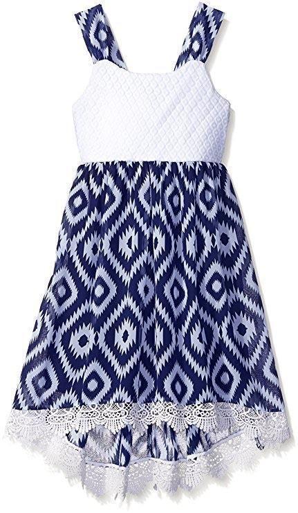 Emily West Girls' Dress Lace Top Navy White Diamond Print Chiffon High Low 12 #EmilyWest #DressyEverydayParty
