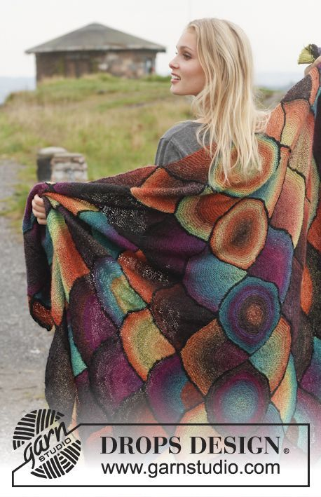 DROPS Over The Rainbow Blanket - Free Knitted Pattern - (garnstudio)