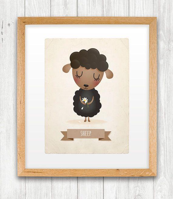 Sheep art print, nursery, illustration 5x7in, animal art, kid's room decor, children art on Etsy, $13.90