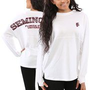 Florida State Seminoles Women's Aztec Sweeper Long Sleeve Oversized Top – White