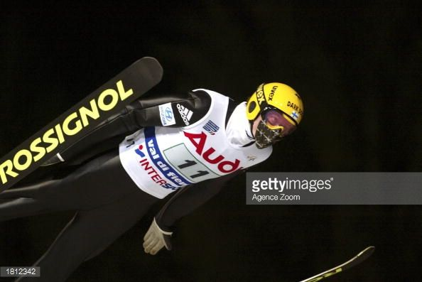 Tami Kiuru of Finland in action during the Team Ski Jumping K120 competition in the FIS World Ski Championships on February 23 2003 in Val di Fiemme...