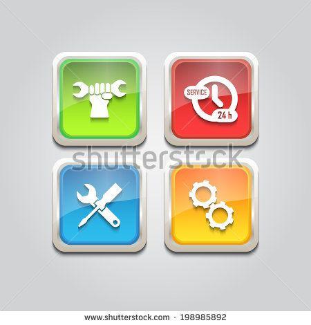 Web icon service gear, key