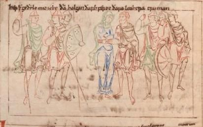 Prudentius' Psychomachia 'Conflict Of The Soul' Corpus Christi College, Ms. 23, c.1000 Anglo-Saxon Patience and Job pass through the midst of the array