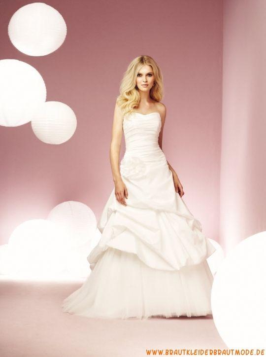 2013 Liebstes günstiges Brautkleid aus Satin und Organza mit Applikation