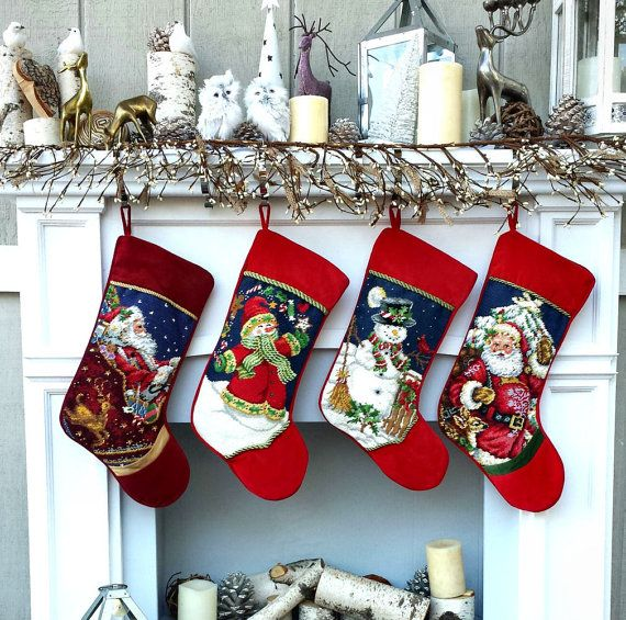 Personalized Needlepoint Christmas Stockings - Santa, Snowman, Ornaments It is 18 in size and of course fully lined, heirloom quality. Personalized or monogrammed in high end embroidery to give it the final touch of luxurious Christmas decor.  ♥ ❤ ♥ ❤ ♥ ❤ ♥ ❤ ♥ ❤ ♥ ❤ ♥ ❤ ♥ ❤ ♥ ❤ ♥ ❤ ♥ ❤ ♥ ❤ ♥ ❤ ♥ ❤ ♥ ❤ ♥ ❤ ♥ ❤  We have 8 designs ( some of them in VERY LIMITED quantity so if you are thinking of large family assortment, get them now before they are sold out.) Jolly Santa - very low inventory…