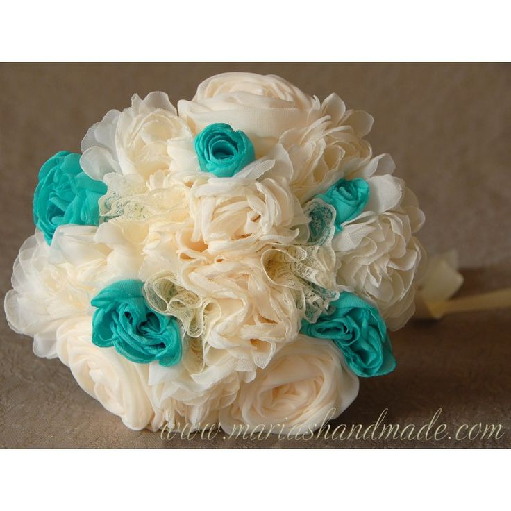 Fabric bridal bouquet for Evi K., by M.aria's Handmade fabric bridal bouquets