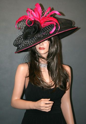 NEW Church Kentucky Derby Hat Black White Pink Wide Brim Ascot Dress Sinamay