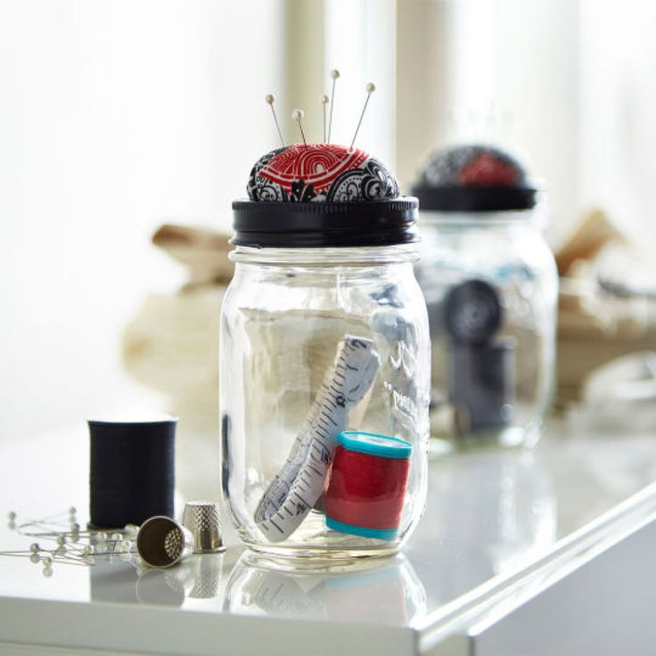 DIY Mason Jar Sewing Kit with Pincushion