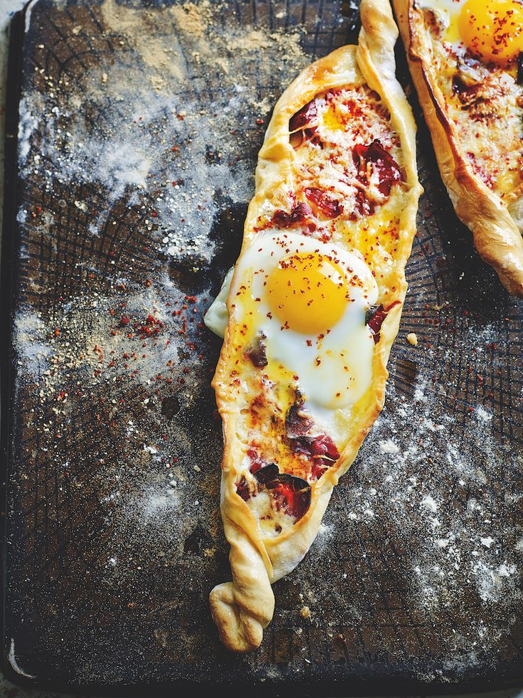 Turkish Delights by honestcooking: This pide is all about simple ingredients cooked to perfection. The idea is to tear pieces off and dip them into the egg yolk.... #Egg #Pastrami #Turkish