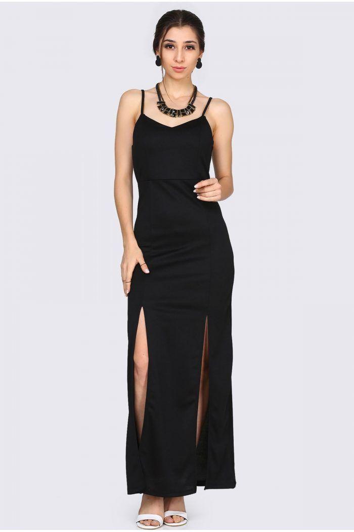 TÜKENMEK ÜZERE  : :  İp Askılı Yan Fermuar Detay Siyah Elbise