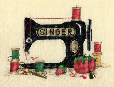 Sue Hillis Sew Many Memories - Cross Stitch Pattern. An old black Singer sewing machine brings back memories of mom patiently trying to teach me how to sew! Cha