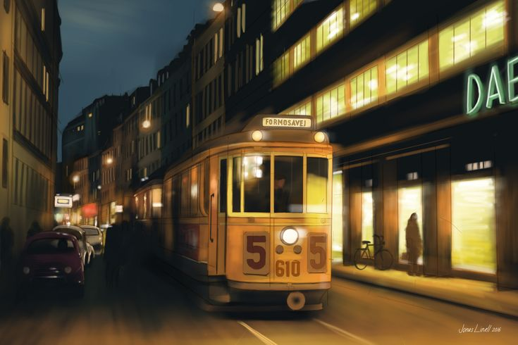 Nørregade in Copenhagen - sometime in the 60s. Illustration by Jonas Linell 2016