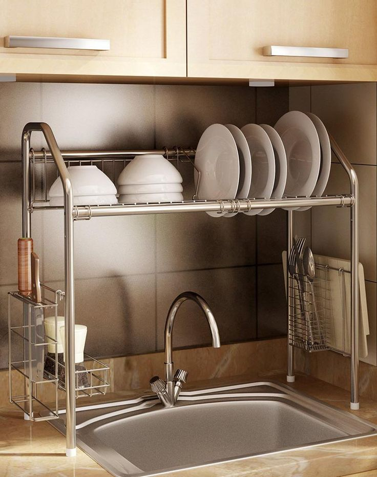 Flexible Steek Sink Storage Shelf