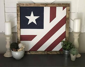 Folded American Flag Farmhouse Barn Quilt Square