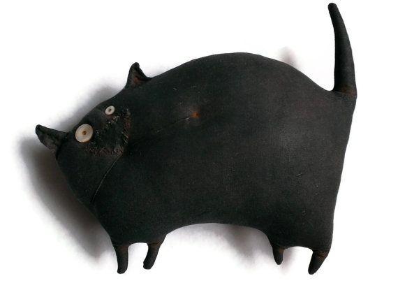 Primitive Prim Folk Art Black Cat Doll Wall by sixtwigscrafts
