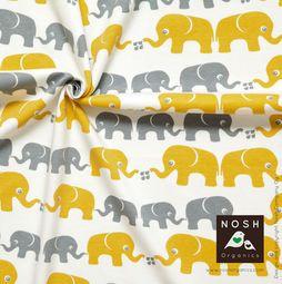 Organic cotton Jersey Elephants Savannah Yellow/ Gray
