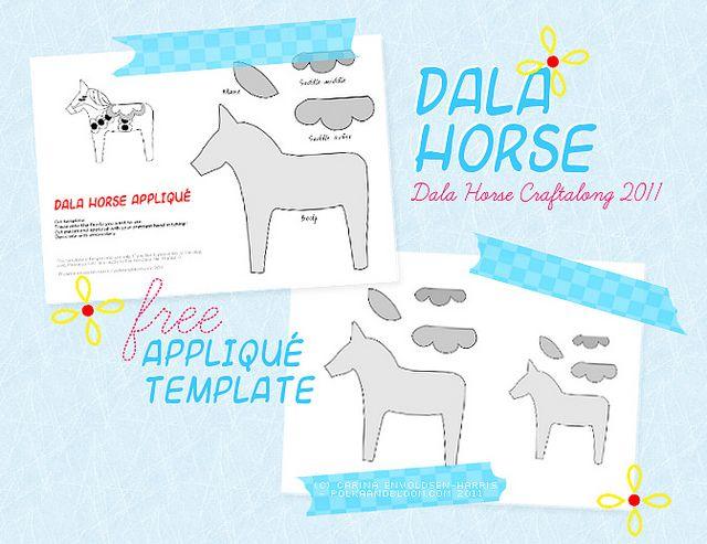 free dala horse appliqué template  dala horse horse