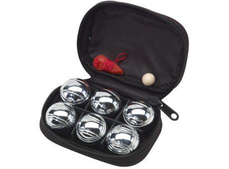 """Mini #Bouleset """"David"""": bestehend aus 6 Metallkugeln, Holzkugel und rotem Messfaden, im schwarzen Reißverschlussetui"""