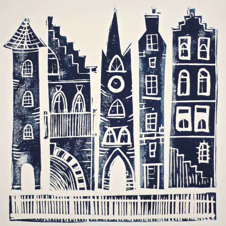 Small City Original Linocut Print by A Pair of Blue Eyes (NOTHS)