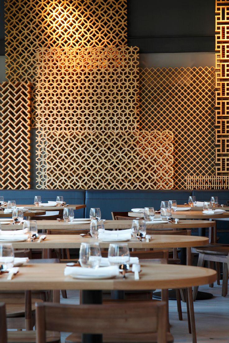 Dining wood lattice wall Bibigo by Central Design Studio