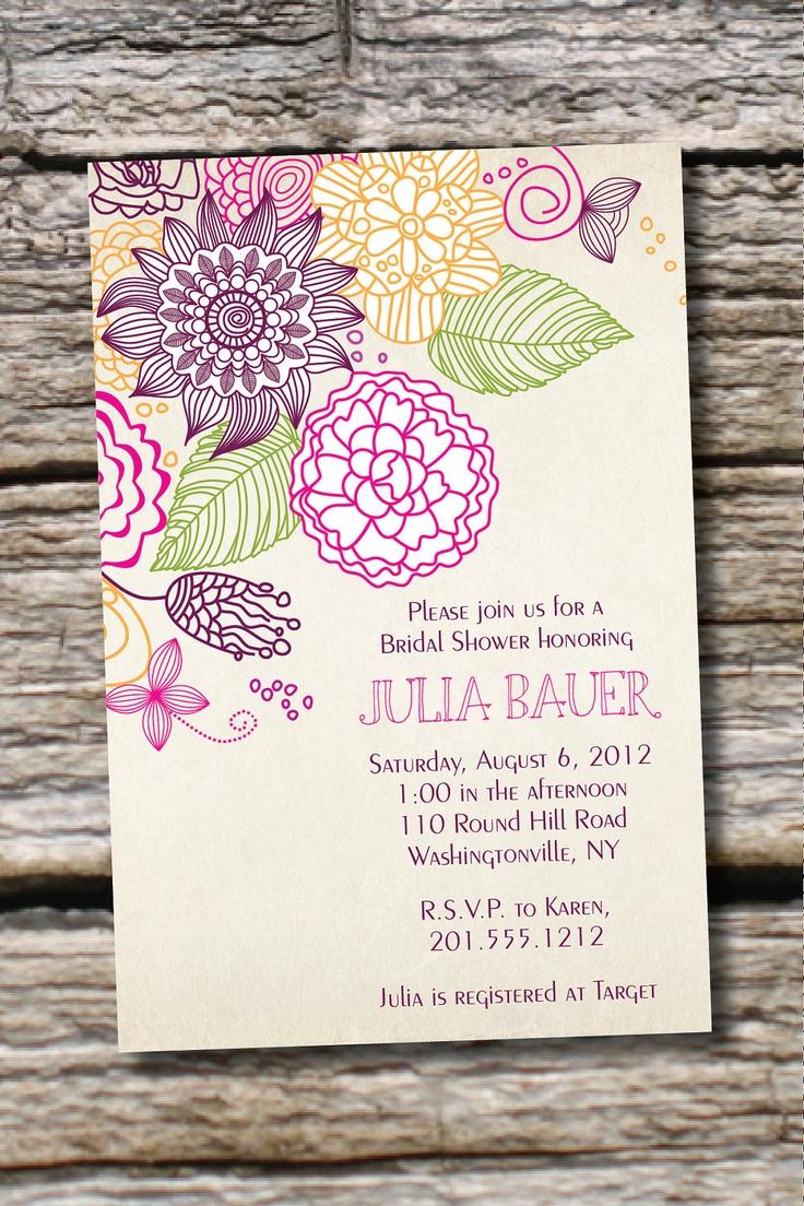 VINTAGE FLORAL Sketch Bridal Shower/ Baby Shower Invitation - You Print, DIY, Digital Design. $15.00, via Etsy.