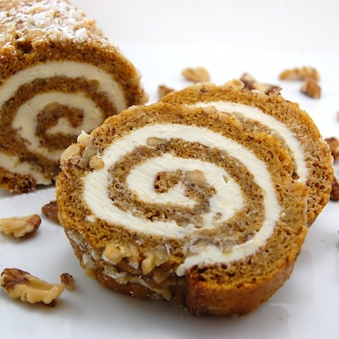 pumpkin roll with cream cheese frosting.