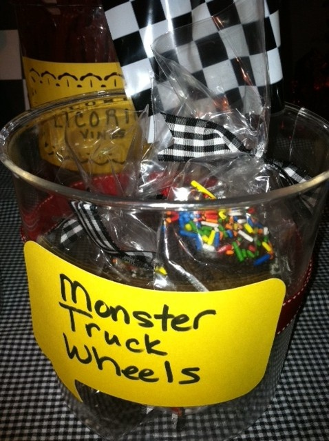 Monster truck wheels...chocolate covered oreos