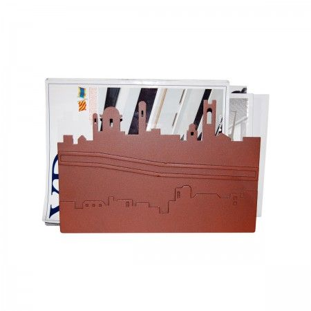 Lacrom - Giulia Bombardieri - Magazine Holder In molded and painted perforated sheet metal reproducing the skyline of the city of Bergamo.