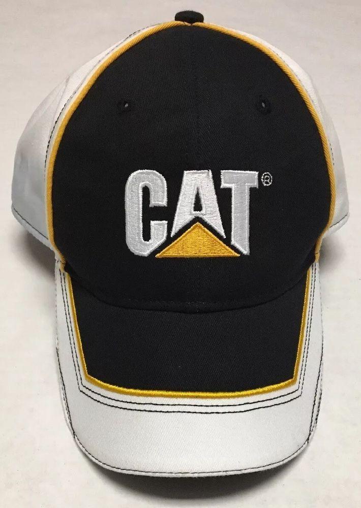 New Black//Gold CAT Logo Baseball Cap Caterpillar Promo Hat Mesh Trucker