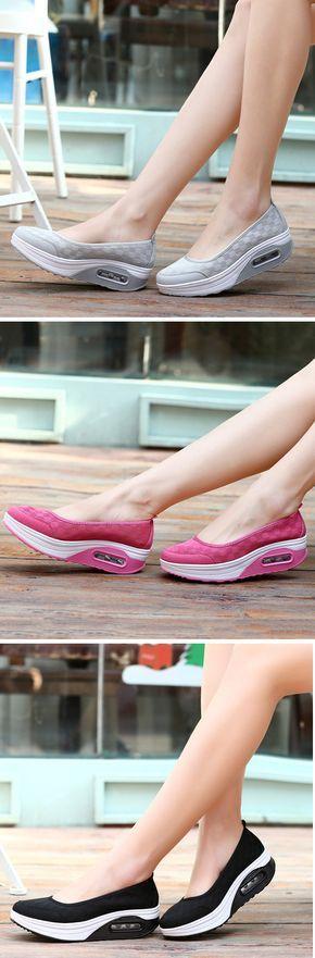 US$19.93 Plaid Check Mesh Breathable Platform Slip On Casual Rocker Sole Shoes