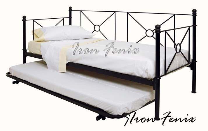 divan,sillon,cama,hierro forjado 1 plaza con cama carrito