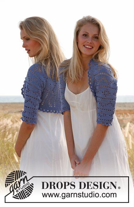 "Crochet DROPS bolero with lace pattern in ""Baby Alpaca Silk"". Size: S - XXXL ~ DROPS Design"