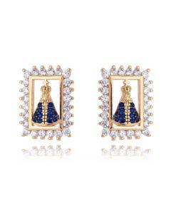 brinco folheado a ouro nossa senhora aparecida semi joias religiosas online