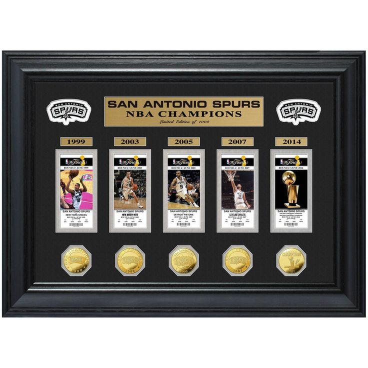 San Antonio Spurs 2014 NBA Finals Champions 5-Time Champs Deluxe Gold Game Coin and Ticket Collection