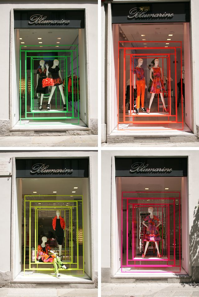 Neon Windows in Milan Italy.  Note black silhouettes with neon accessories. #retaildetails