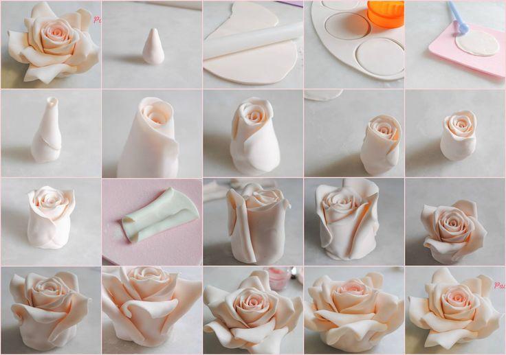 Sugar paste Rose tutorial Cake Design Pinterest