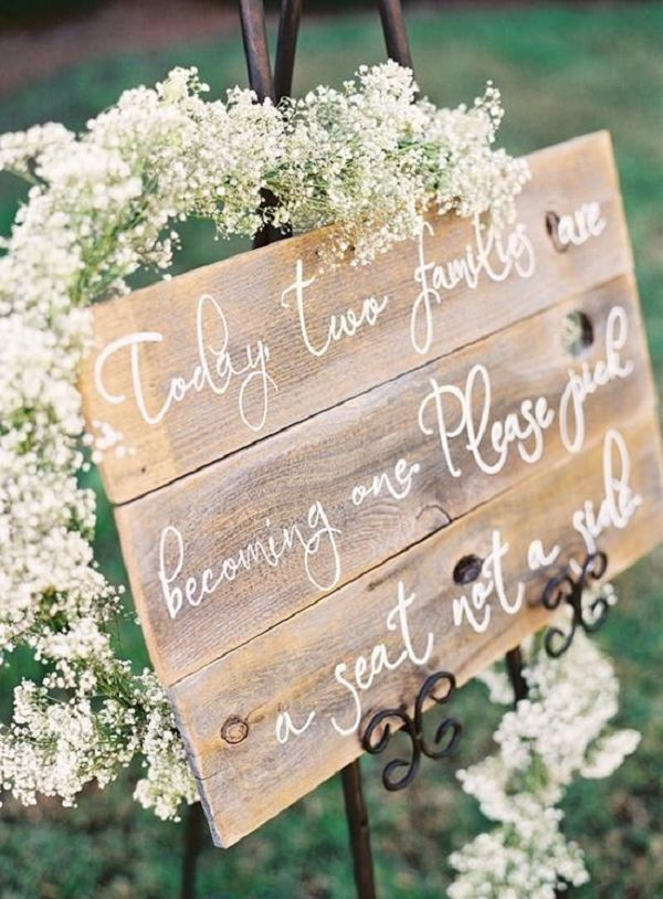 Wood wedding ceremony sign / http://www.deerpearlflowers.com/rustic-wood-pallets-in-your-wedding/