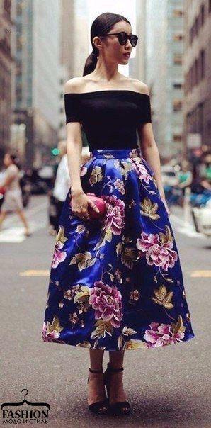 Яркие юбки миди