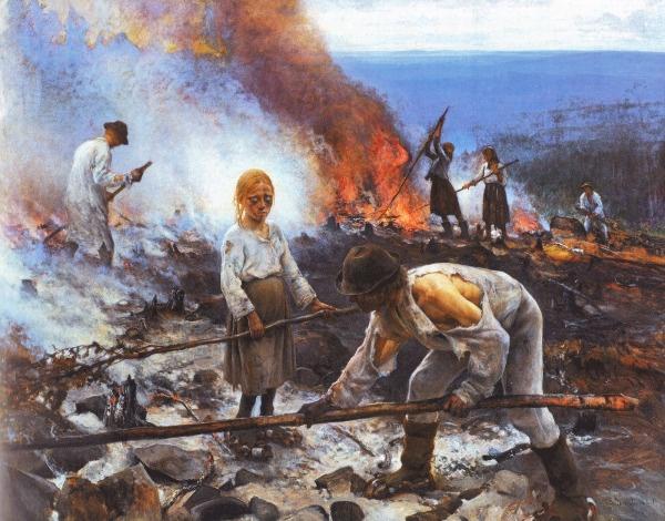 """""""Under the Yoke (Burning the Brushwood)"""" (1893) by Eero Järnefelt"""