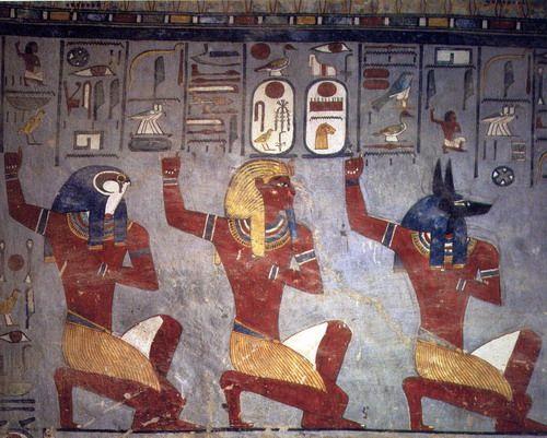 Rams s i entre las almas de pey nekhen pintura mural de for Mural egipcio
