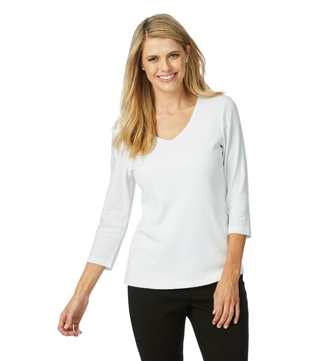 Rockmans 3/4 Sleeve V Neck Double Front Tee