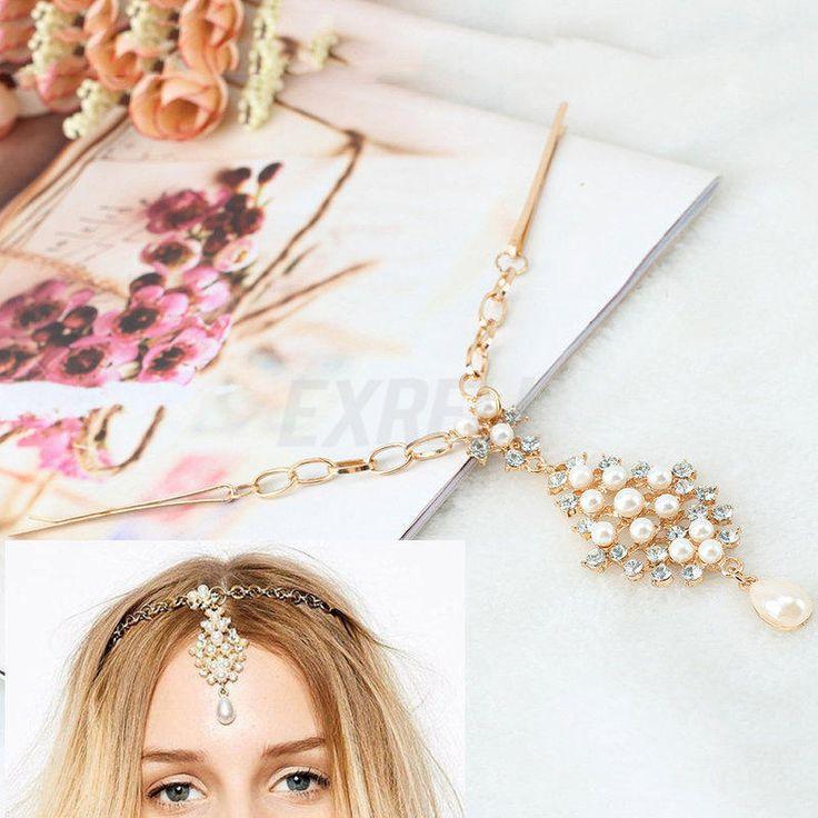 Donna Fascia per Capelli Perla Imitata Catena Archetto Tono Oro Accessori Feste…