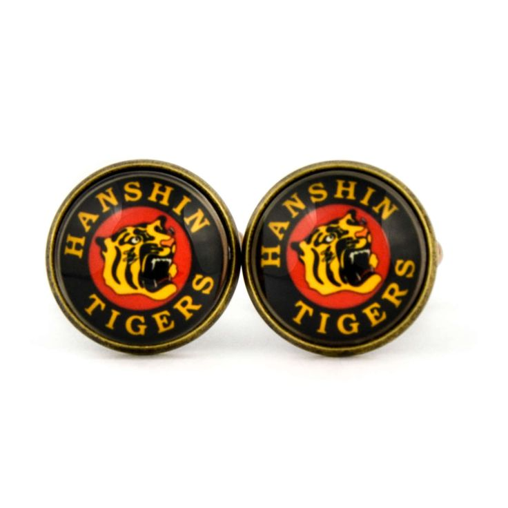 Hanshin Tigers Logo cufflinks. Nippon Professional Baseball team. Personalised Silver Men's jewelry accessories gift. by Mysstic on Etsy