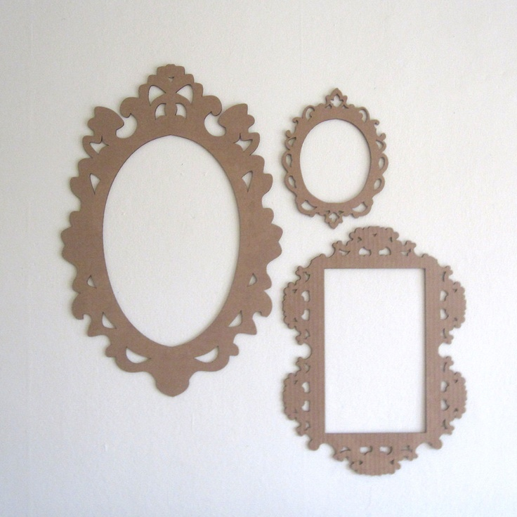$20 Decorative Cardboard Frame Cut Out Baroque Laser Cut by Haley Marie from Seequin, via Etsy.