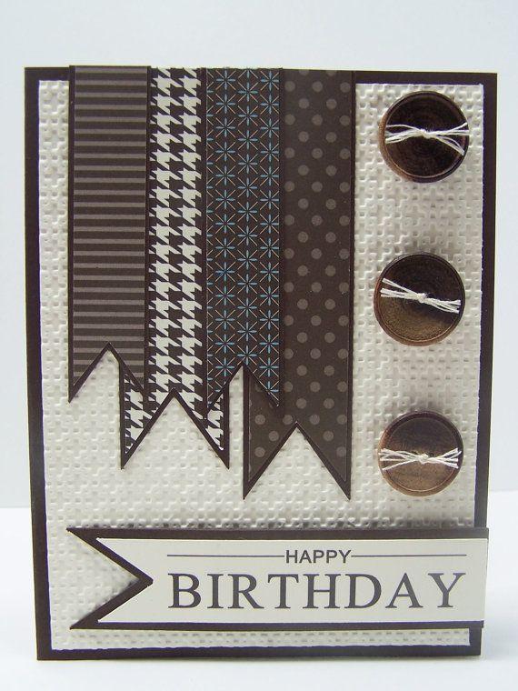 Stampin Up Handmade Happy Birthday Greeting Card: Masculine Birthday Card - Neutral Birthday, Male, Husband, Brother, Boyfriend, Son