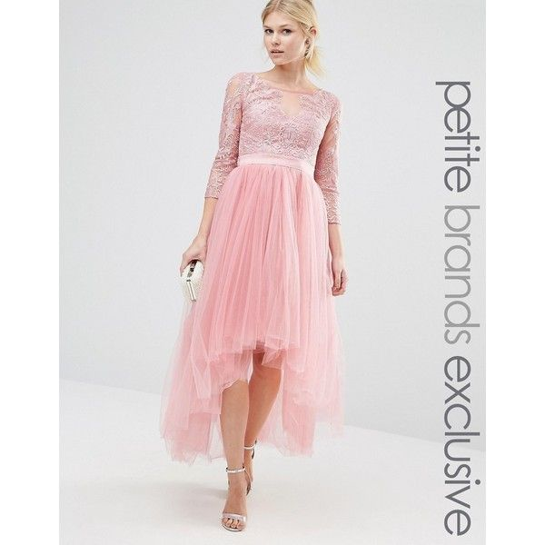 Chi Chi London Petite Premium Metallic Lace Midi Prom Dress With Tulle... ($115) ❤ liked on Polyvore featuring dresses, pink, lace dress, petite cocktail dress, high low prom dresses, lace fit and flare dress and tulle prom dresses