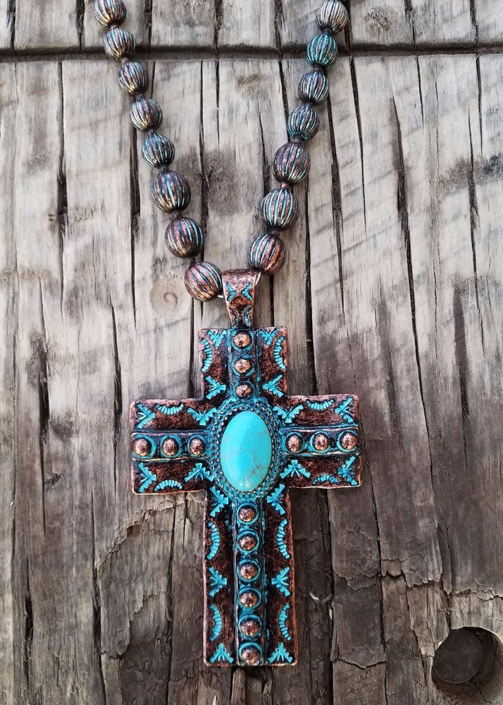 COWGIRL Bling  CROSS Southwest COPPER PATINA Western  Boho Gypsy NECKLACE SET #Unbranded #necklace