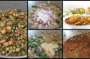 """Misal pav is a popular dish from Maharashtra consisting of misal and pav .The final dish is topped with potato-chiwda mix, """"farsan"""" or """"sev"""", onions, lemon and coriander (cilantro). It is usually served with bread toasted with butter and buttermilk or curd and papad. Try this amazing mouth savouring Maharashtrian dish and share your reviews: Ingredients 2 cups mixed sprouts...  Read More"""