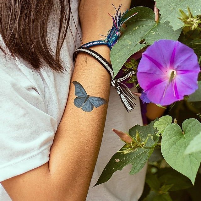 الفراشة الزرقاء Cuff Bracelets Flower Tattoo Tattoos