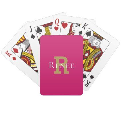 Pink Girly Classy Custom Name Monogram Trendy Playing Cards - monogram gifts unique custom diy personalize